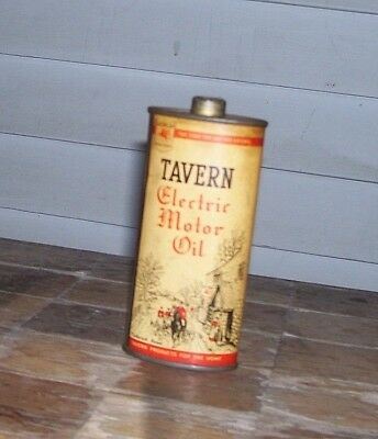 Vintage Rare TAVERN ELECTRIC MOTOR OIL~ SOCONY VACUUM OIL CO. Oil Can Tin