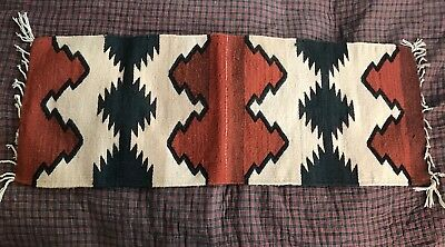 Striking Mexican Zapotec All Wool Hand Woven Rug Navajo Runner