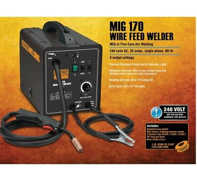 170 AMP-DC 240 Volt MIG/Flux Cored Arc Welder with Welding Cable Guns