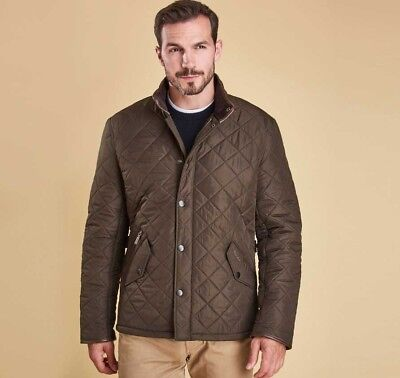 Barbour Men's Quilted Powell Jacket Size Large in Olive