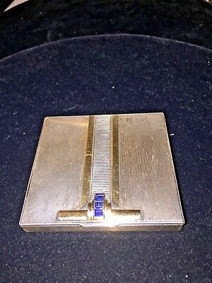Vintage 1943 Sterling Silver & 14Kt Sapphire Compact Powder Case Nr