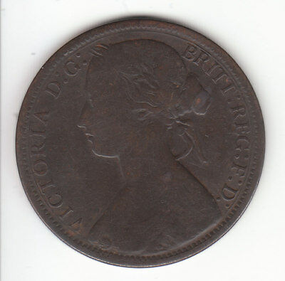 1867 Great Britain Queen Victoria 1 One Penny.  Scarce.