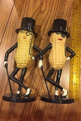 Pair Planters Mr Peanut Plastic Coin Bank Old & New Style Original Black and Tan