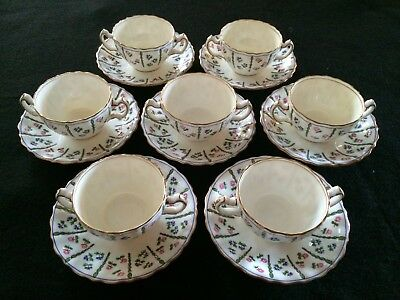 Vintage Minton 7 Sets of Double Handle Bouillon Cups & Saucers, Number G 5947