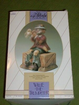 Vintage Willie The Trumpeter Melody In Motion Music Box Porcelain Clown Hobo