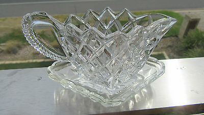 Vintage Cut Glass Diamond Shaped And Patterned Jug And Undersaucer
