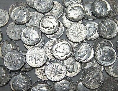 $5 90% Silver Roosevelt Dimes Great Condition Roll Lot