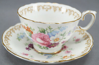 Crown Staffordshire England's Bouquet Dresden Style Tea Cup & Saucer Circa 1930s