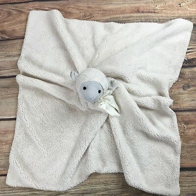 """Baby Pottery Barn Kids Monique Lhuillier LAMB Security Blanket Ivory 30"""" Square"""