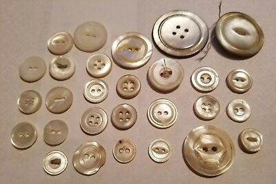 Antique Vintage Stone Shell ABLONE 28 Buttons Rare sizes Mother of Pearl lot#10