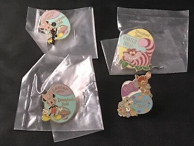Disney Disneyland Hotel Easter Pin Lot Mickey Mouse Cheshire Cat Thumper Bambi