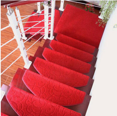D39 Red Household 5PCS Step Rug Stair Tread Mat Skid Resistance Carpet 65X24CM Z