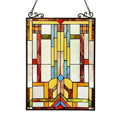 """Stained Glass Chloe Lighting Window Panel CH3P703CB24-GPN 17.5 X 25"""" Handcrafted"""