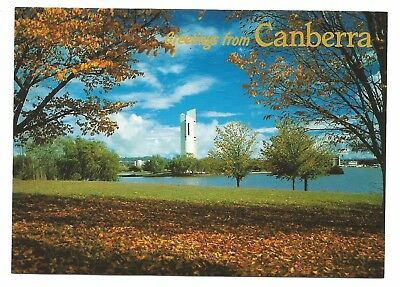 ACT - c1980s POSTCARD - LAKE BURLEY GRIFFIN & THE CARILLON IN AUTUMN, CANBERRA