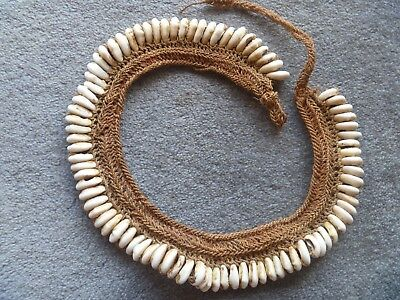 Papua New Guinea old cowrie shell and twine necklace