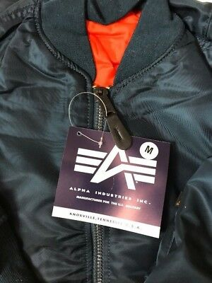 USAF MA1 Flyers Jacket By Alpha Industries Made In USA Blue Medium New