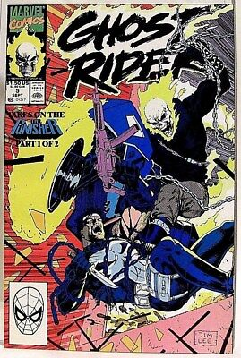 """""""GHOST RIDER"""" Issue # 5 (September, 1990) Comic (Marvel Comics) f. THE PUNISHER"""