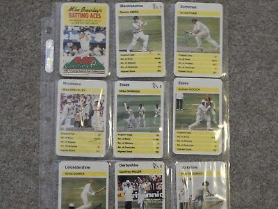 Signed Ace Sporting Aces Cricket Cards By Brearley,amiss,botham Etc (9)