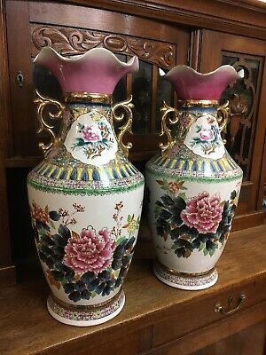 Pair 60cm Tall Chinese Decorative Vases Floral Design