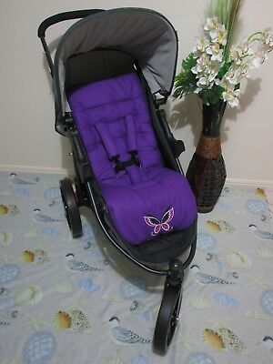 Pram liner set,universal,100% cotton fabric-purple embroidered butterfly-1 only