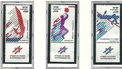 1981 Maccabiah Games set 3 all with Tabs  MUH/MNH  as Issued