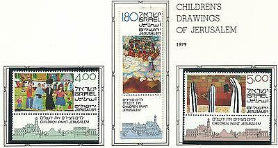 1982 Children's Drawings of Jerusalem & Jewish Age with Tabs  MUH/MNH  as Issued
