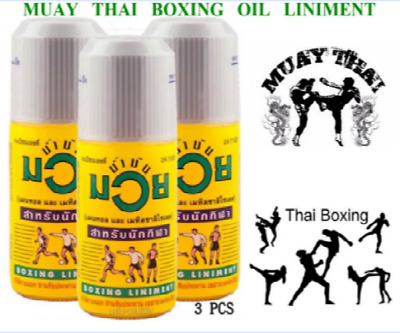 .Namman Muay Oil Thai Boxing Liniment Muscular Relief Pain 120cc X 3 Bottles