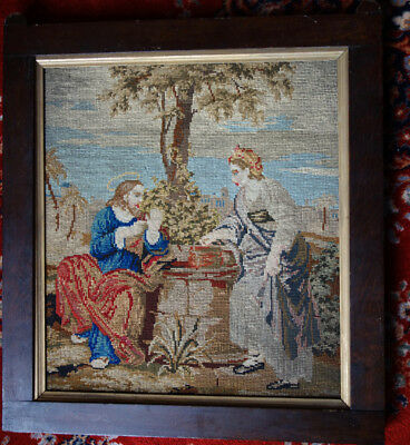 Victorian Woolwork Picture-Religious Theme-Jesus-Samplers-Embroidery