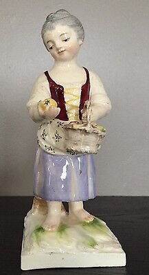 Character Earthenware Young Girl In The Basket Brand In Underneath Blue? Xix° #