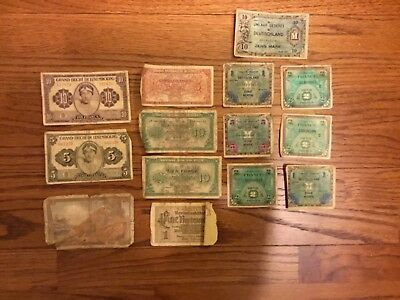 Vintage WWII Foreign Banknotes Lot of 14 From Various Countries
