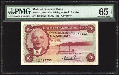 Malawi 10 Shillings P2 PMG Gem Uncirculated 65 EPQ