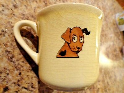 Vintage/Antique Mount Clemens Pottery Dish~Child's Cup/Mug~Puppy Dog & Chick