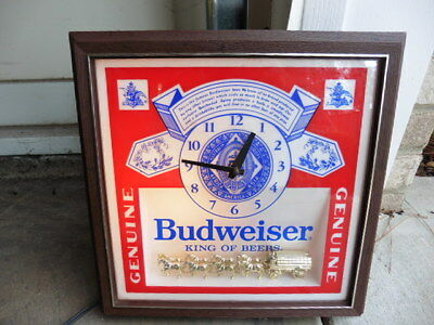 1970s Budweiser Beer Bar LIghted Clock Logo Sign Clydesdale Horse Display Works