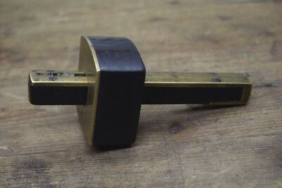 Antique Ebony And Brass Mortice Gauge Woodworking Old Tool