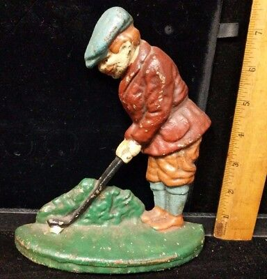 Vintage/antique Golfer Door Stop Or Bookend Playing Golf Heavy Cast Iron 7.5""