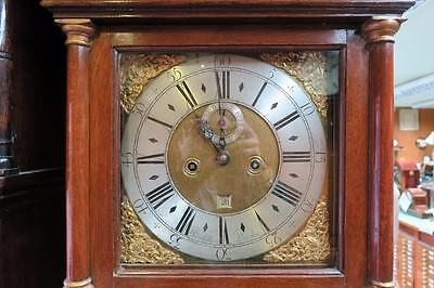 18th CENTURY OAK LONG CASE GRANDFATHER CLOCK SIGNED JOHN COLLINS LONDON.