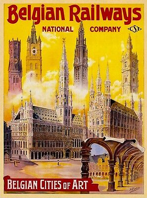 Belgian Railways Cities Belgium Europe Vintage Travel Wall Decor Art Poster