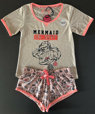 DiSNEY ARiELLE DAMEN PYJAMA SHORTY MERMAID SCHLAFANZUG TOP SHORTS 34-36 PRIMARK