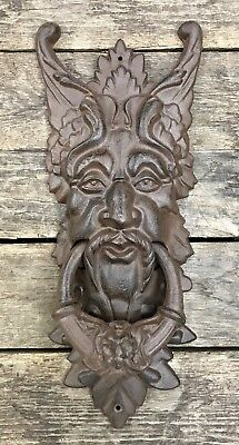 "Cast Iron Large Gothic Face Vintage Brown 20"" Door Knocker"