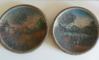 pair of very old painted carved wood plates Chinese / Japanese ?