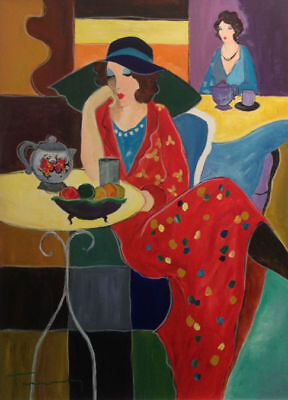 """ART DECO PRINT. """"Two ladies in a cafe"""", by Itztchak Tarkay. Printed on A 4 ."""