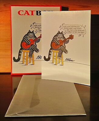 Kliban Cat One Card with Box and Envelope Mousies What I Love To Eat