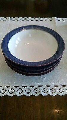 """Four Denby Storm Cereal Bowls 7 3/16"""" wide, 1 7/8"""" high; very good condition"""