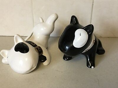Vintage Pair Of Black White Dog Money Box Boxes Terriers Bull