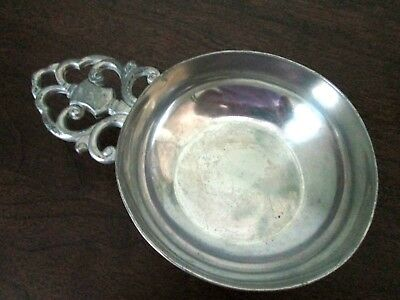 Vintage Royal Holland Pewter Porringer Bowl w Decorative Handle, KMD Tiel