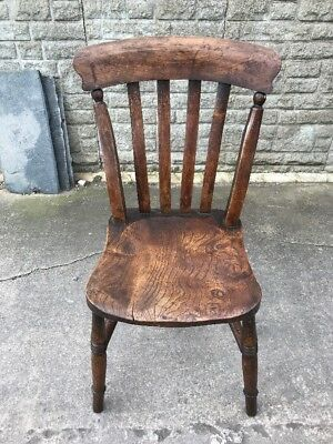 Antique Elm and Oak Kitchen Slat Back Kitchen Chair