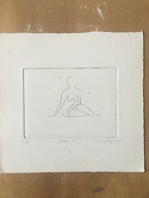Original Etching Artwork Print Nude Miniature Life Drawing