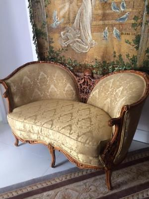 Antique Vintage Carved Wood French Settee Loveseat Sofa