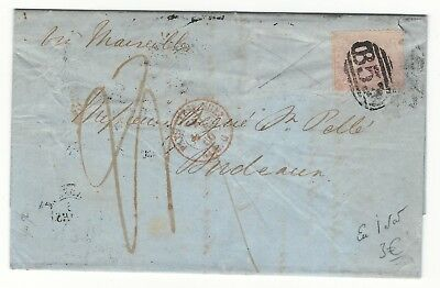 D99 British Mauritius Maurice 1860 classic cover to  France