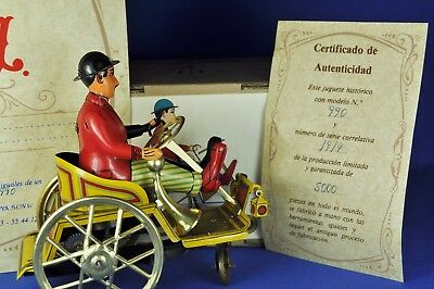 Blech / Tin: Paya Dreirad mit / Tricycle w. Charles Chaplin, I-990, Replica1987